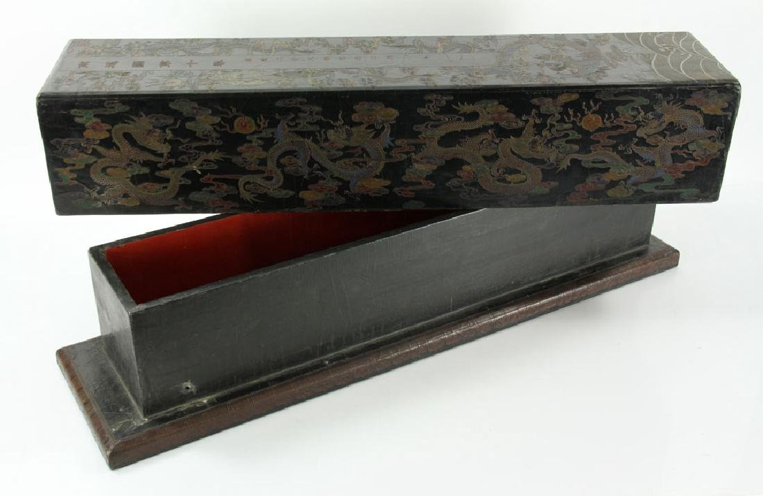Large Chinese Gilt and Black lacquered Scroll Box - 3