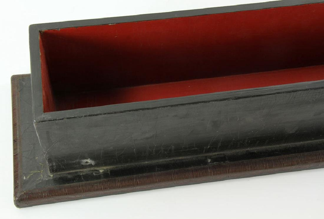 Large Chinese Gilt and Black lacquered Scroll Box - 5