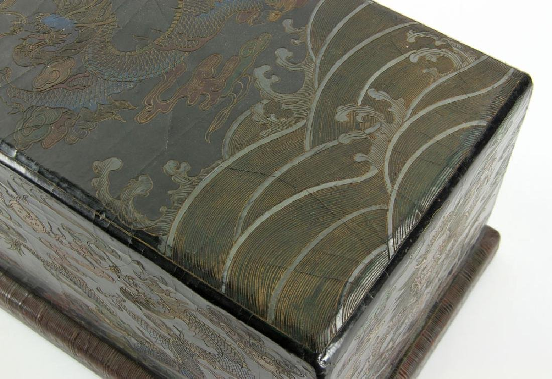 Large Chinese Gilt and Black lacquered Scroll Box - 8