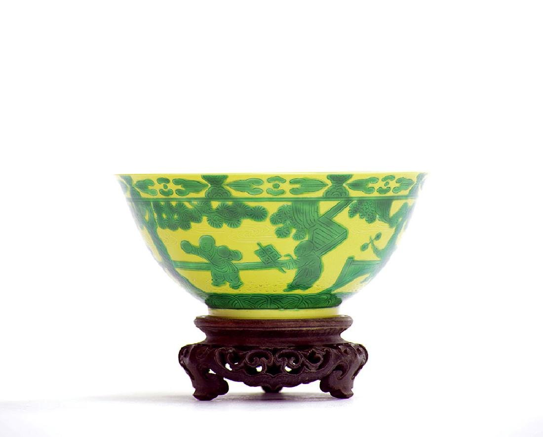 Fine Chinese Yellow and Green Eight Princes Bowl - 2