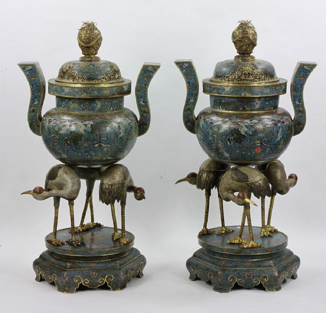 Pr. Large and Rare Chinese Cloisonne Censers