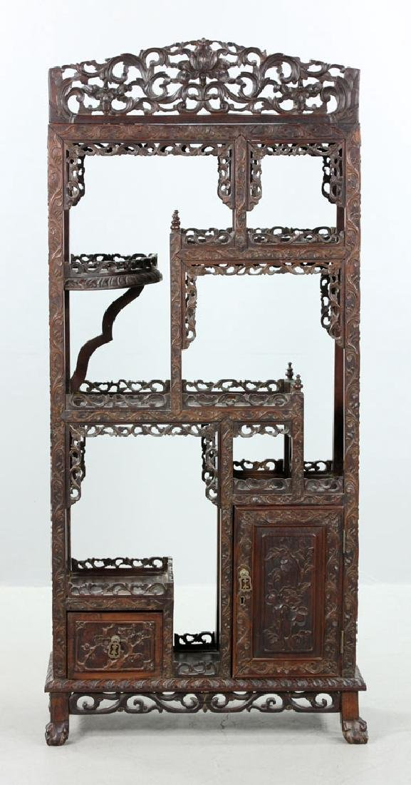 Late 19th C. Chinese Redwood Showcase (Da Bao Ge)
