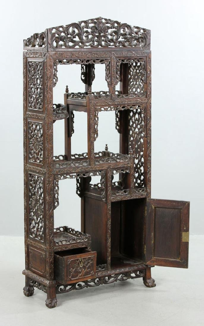Late 19th C. Chinese Redwood Showcase (Da Bao Ge) - 3