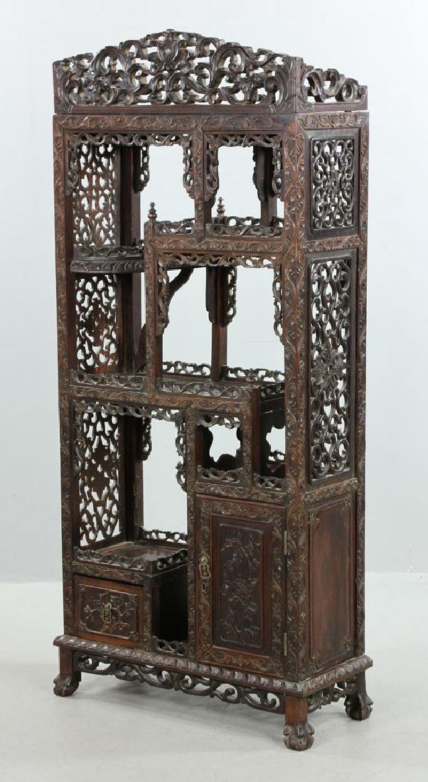 Late 19th C. Chinese Redwood Showcase (Da Bao Ge) - 7