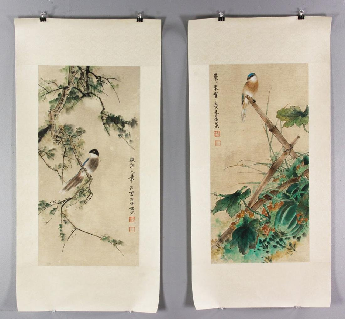 Two Chinese Watercolor Paintings on Paper
