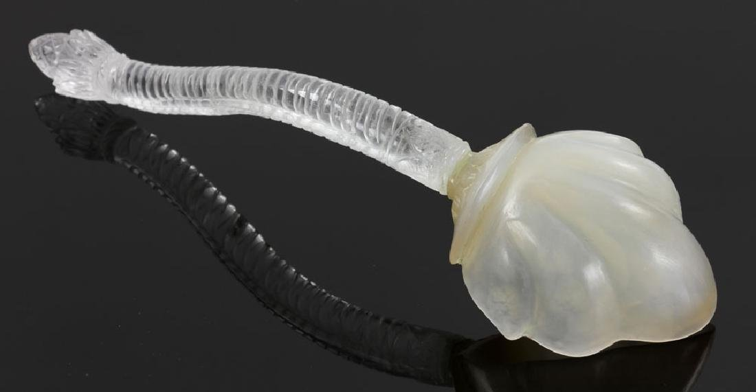 Mughal Carved White Jade and Rock Crystal Spoon/Ladle - 4