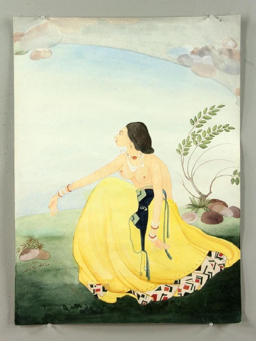Chughtai, Portrait of A Woman, Watercolor Gouache