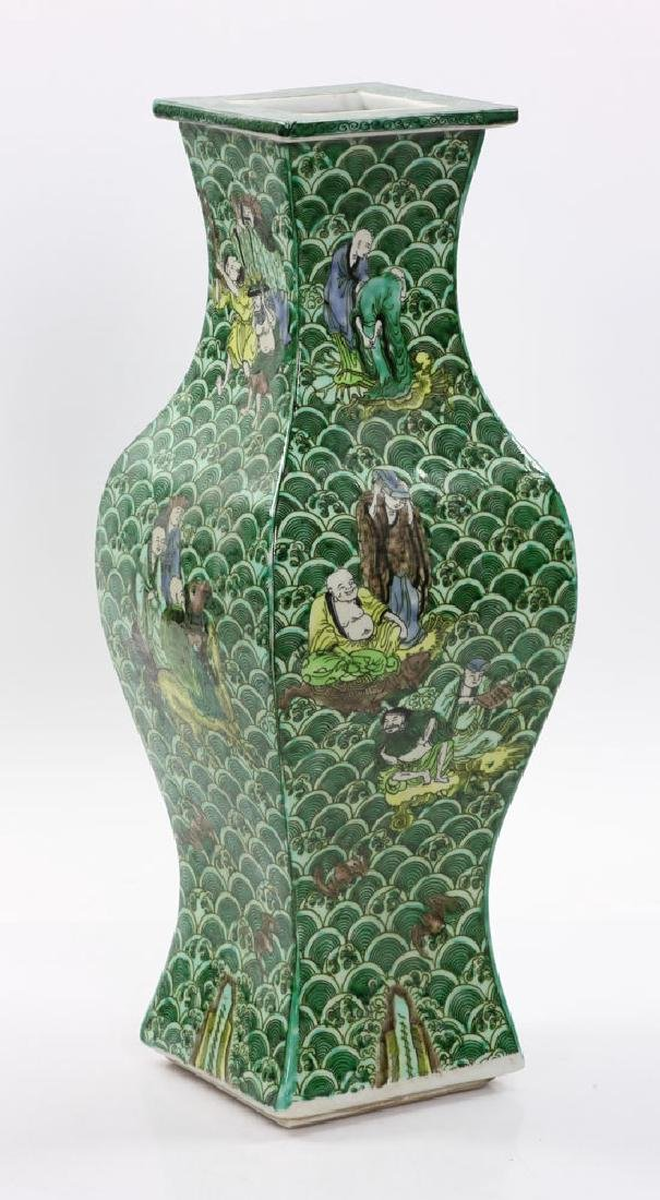 Chinese Square Shaped Famille Verte Vase