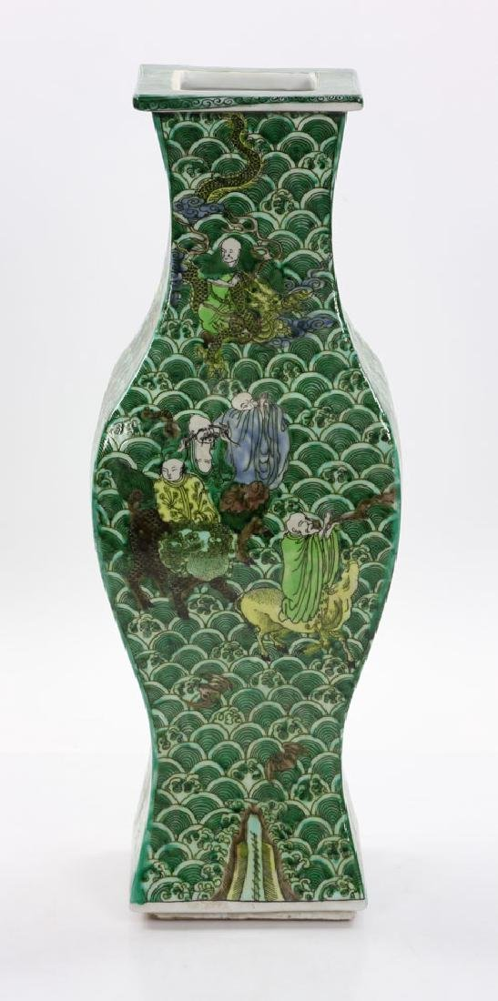 Chinese Square Shaped Famille Verte Vase - 2