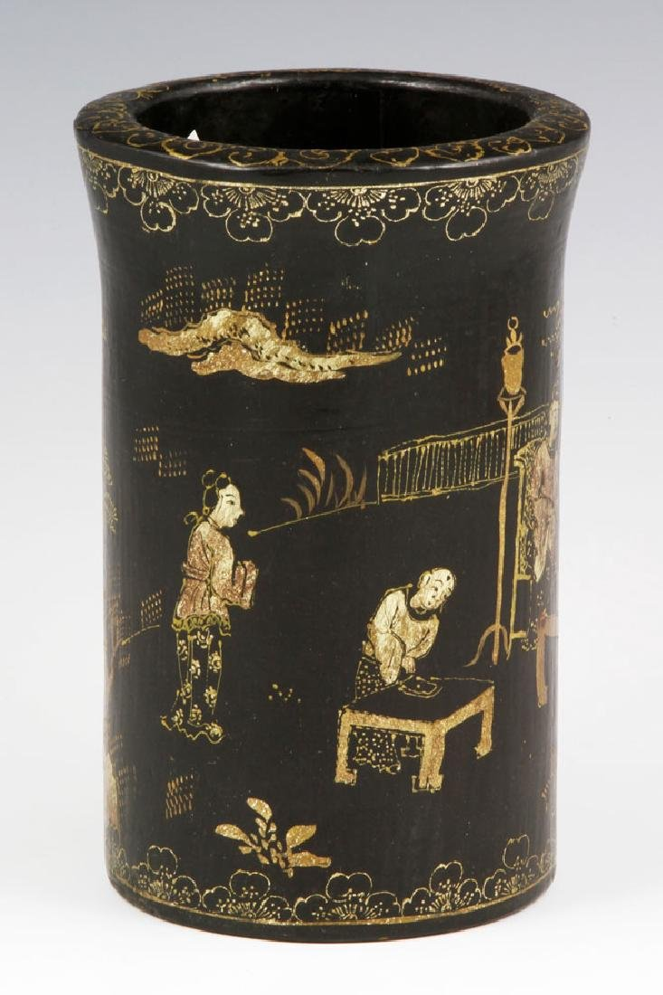 Chinese Lacquer Brush Pot - 2