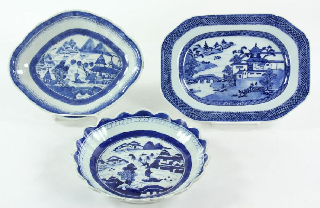 Three 19th C. Chinese Canton Porcelain Items