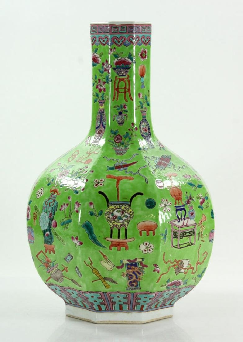 Chinese Lime Green Vase - 2