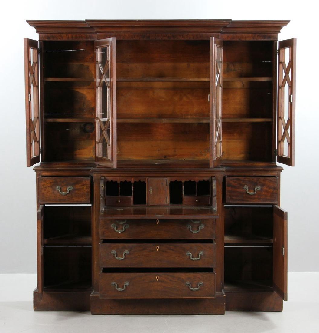 19th C. Mahogany Breakfront Secretary Desk - 2