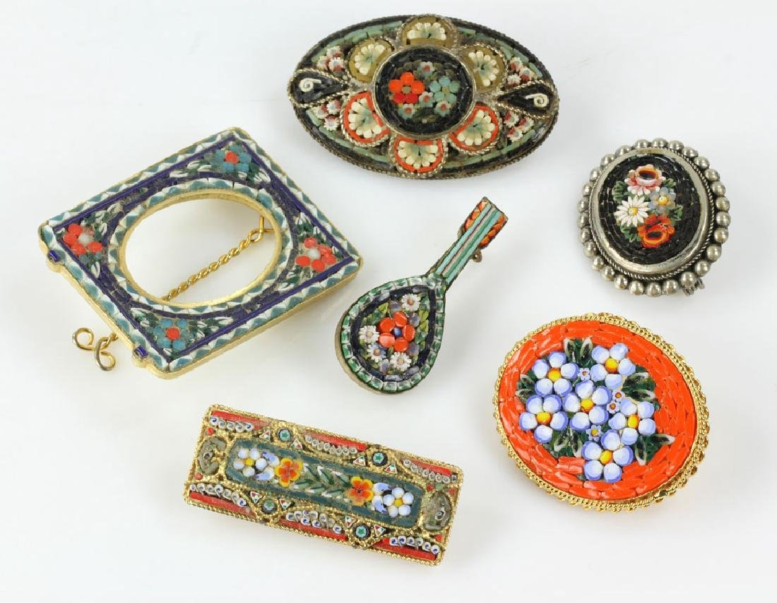 Six Italian Mosaic Jewelry Pieces