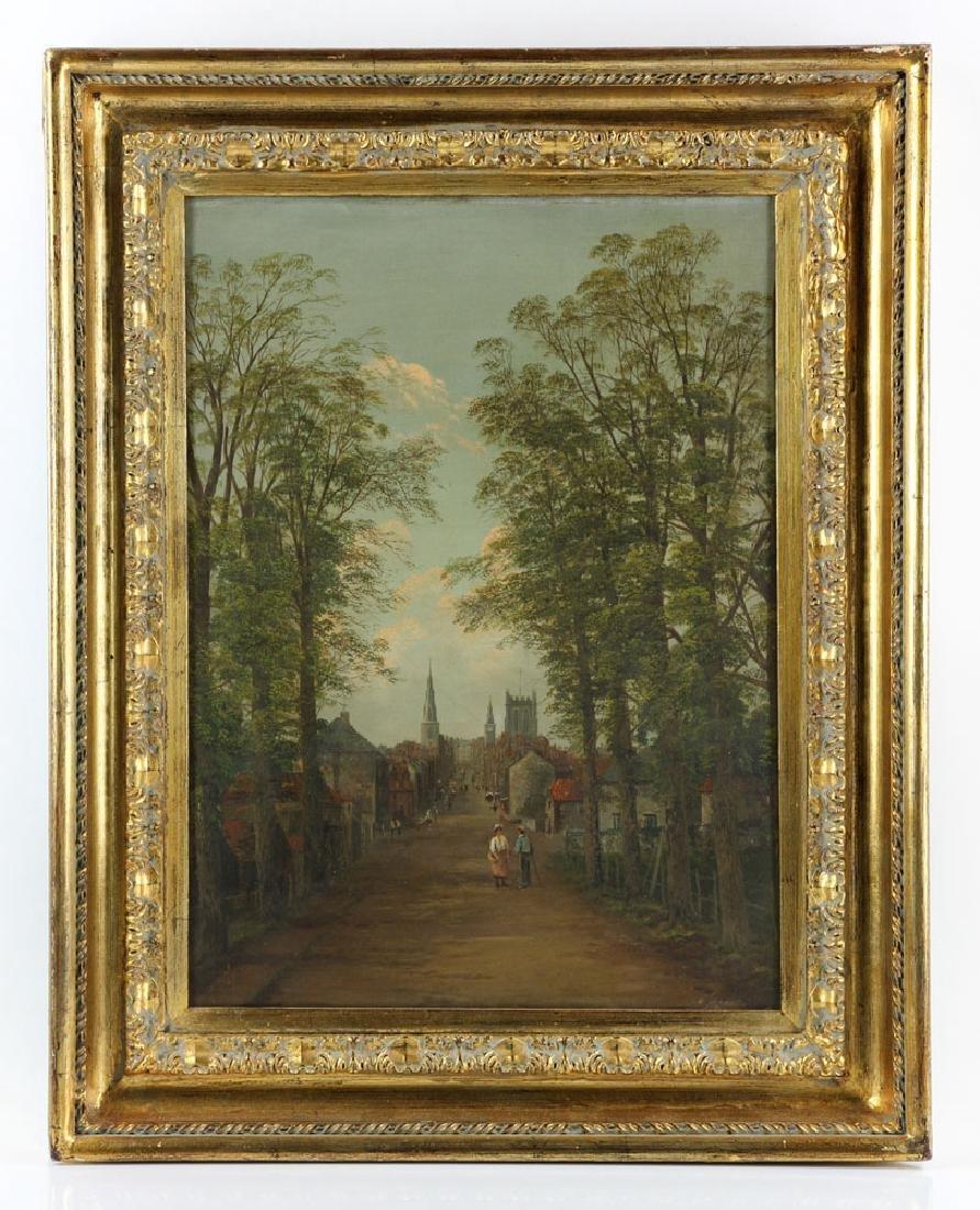 19th C. English School, Village Scene, Oil on Canvas