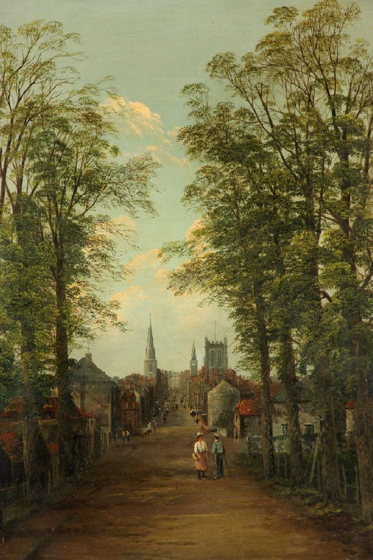 19th C. English School, Village Scene, Oil on Canvas - 3