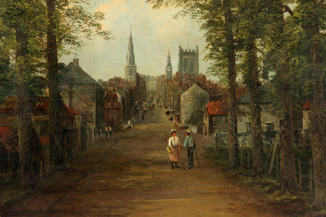 19th C. English School, Village Scene, Oil on Canvas - 4