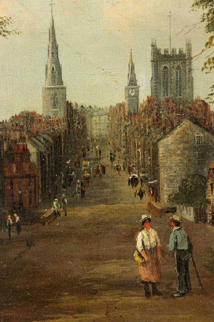 19th C. English School, Village Scene, Oil on Canvas - 5