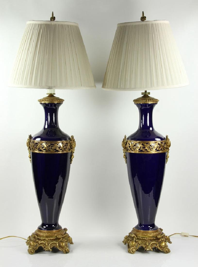 Pr. French Ormolu and Cobalt Lamps