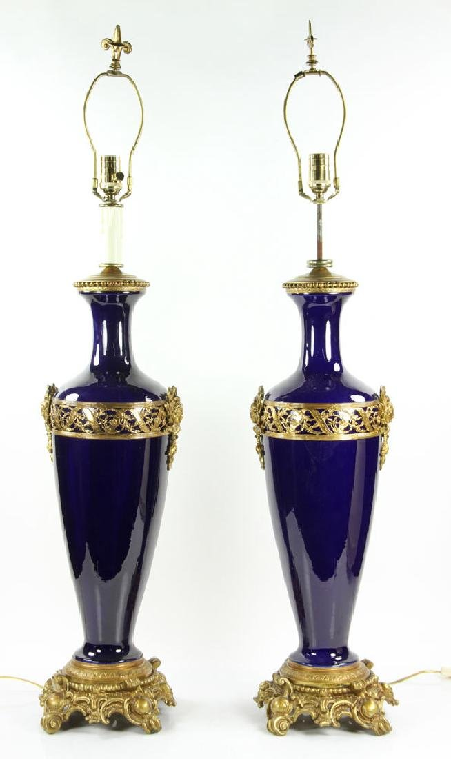 Pr. French Ormolu and Cobalt Lamps - 2
