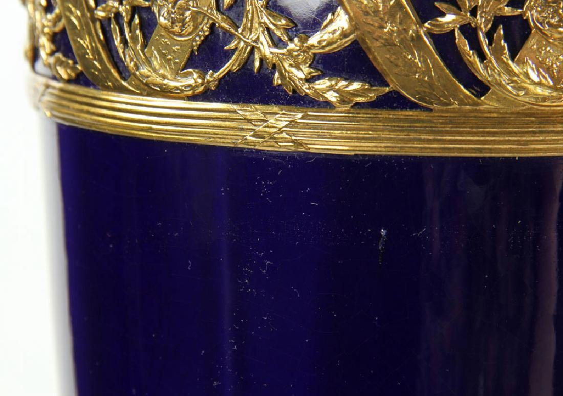 Pr. French Ormolu and Cobalt Lamps - 7