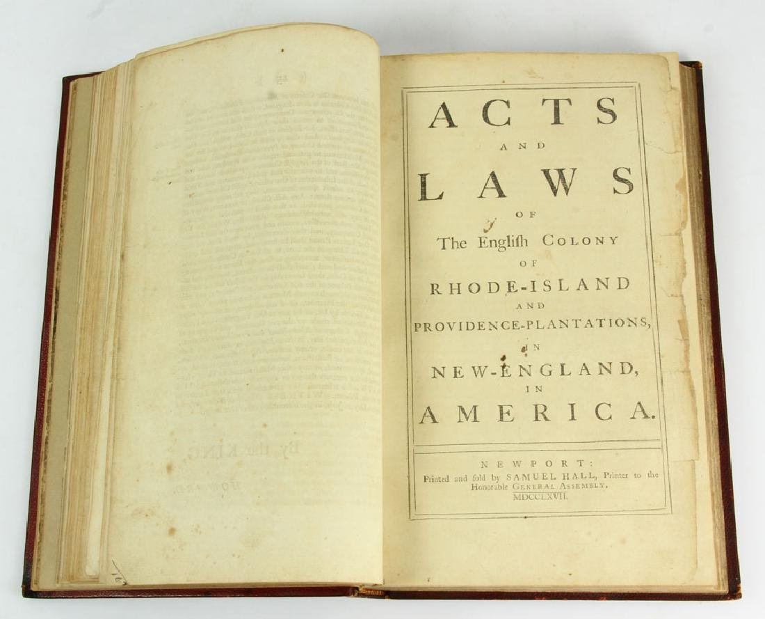 "Rare Rhode Island's Colonial 1767 ""Acts and Laws"" - 12"
