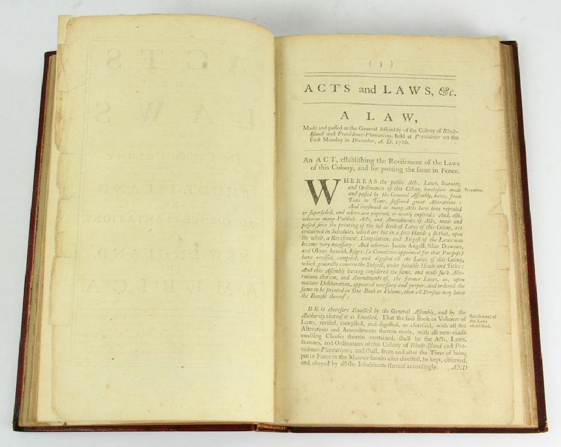 "Rare Rhode Island's Colonial 1767 ""Acts and Laws"" - 13"