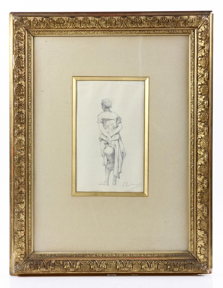 """Guillaumet, """"Standing Girl Holding Water Pitcher"""","""