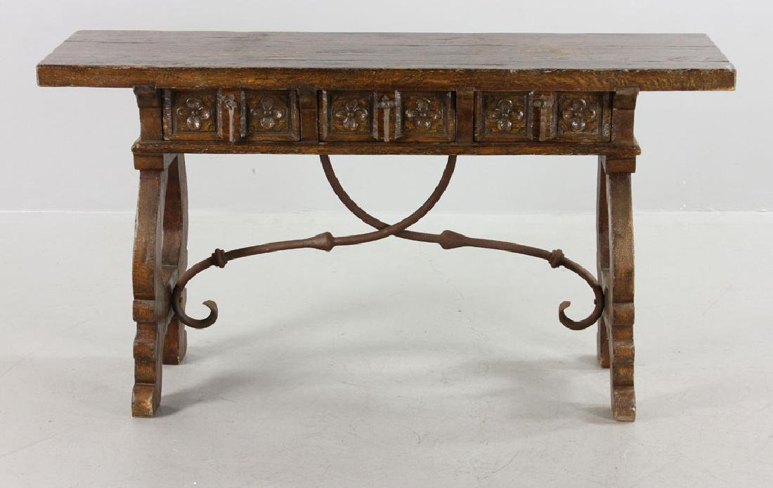 Continental Oak Hall Table - 3