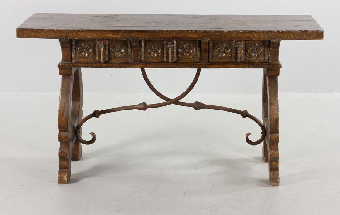 Continental Oak Hall Table - 3
