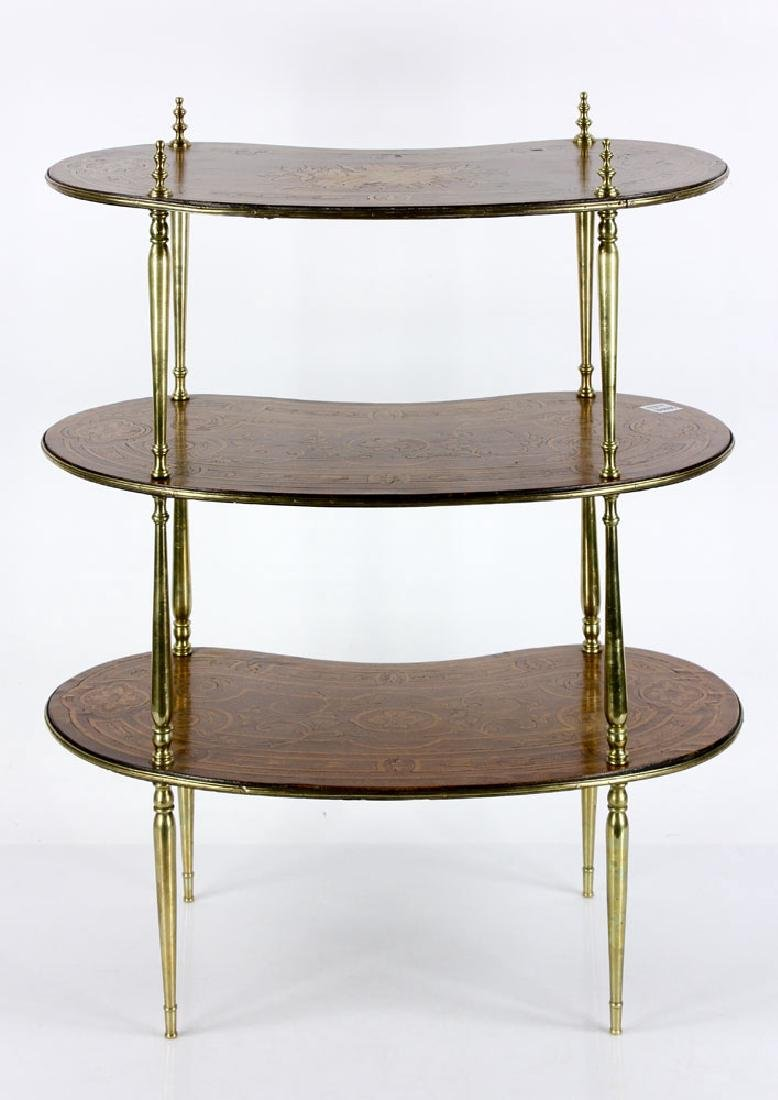 Louis XVI Style Marquetry Inlaid 3 Tier Stand