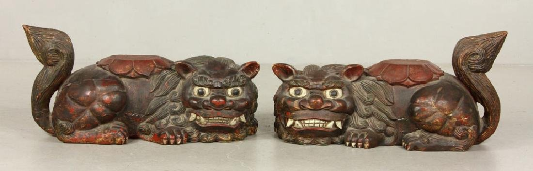 19th C. Chinese Wooden Foo Dogs