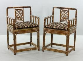 Pr. 18th C. Chinese Southern Bamboo Armchairs