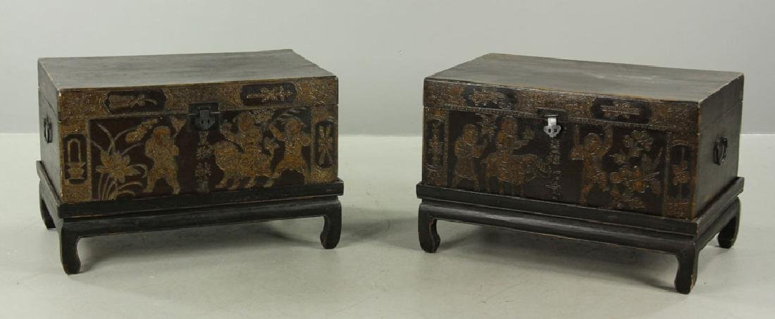 Pair of Chinese Trunks on Stands