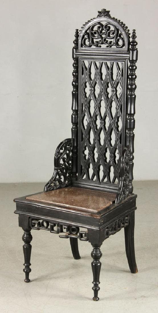 19th C. Chinese Carved Rosewood High Back Chair