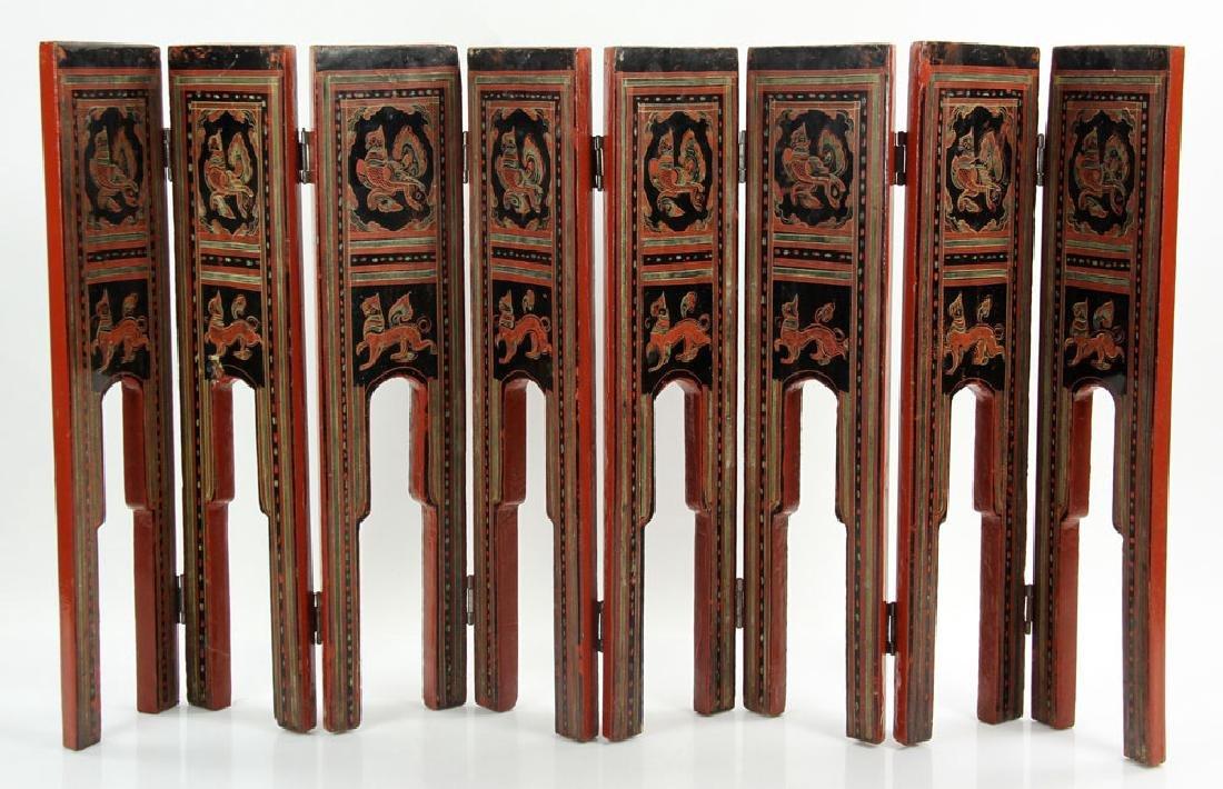 Antique Thai Painted Folding Screen