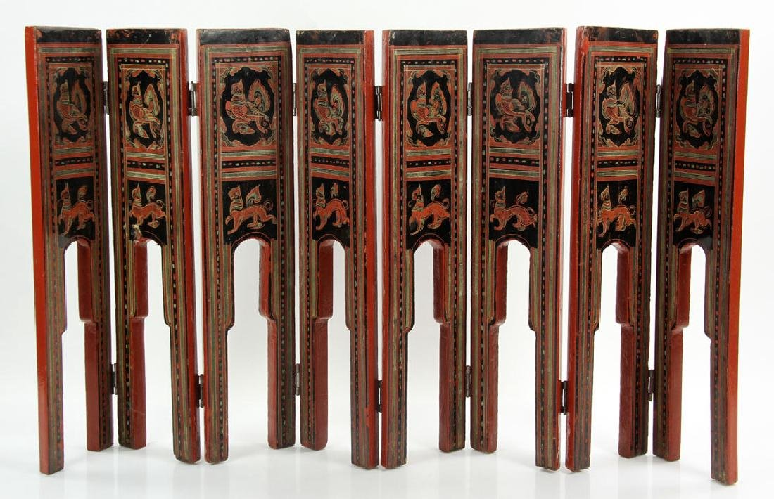 Antique Thai Painted Folding Screen