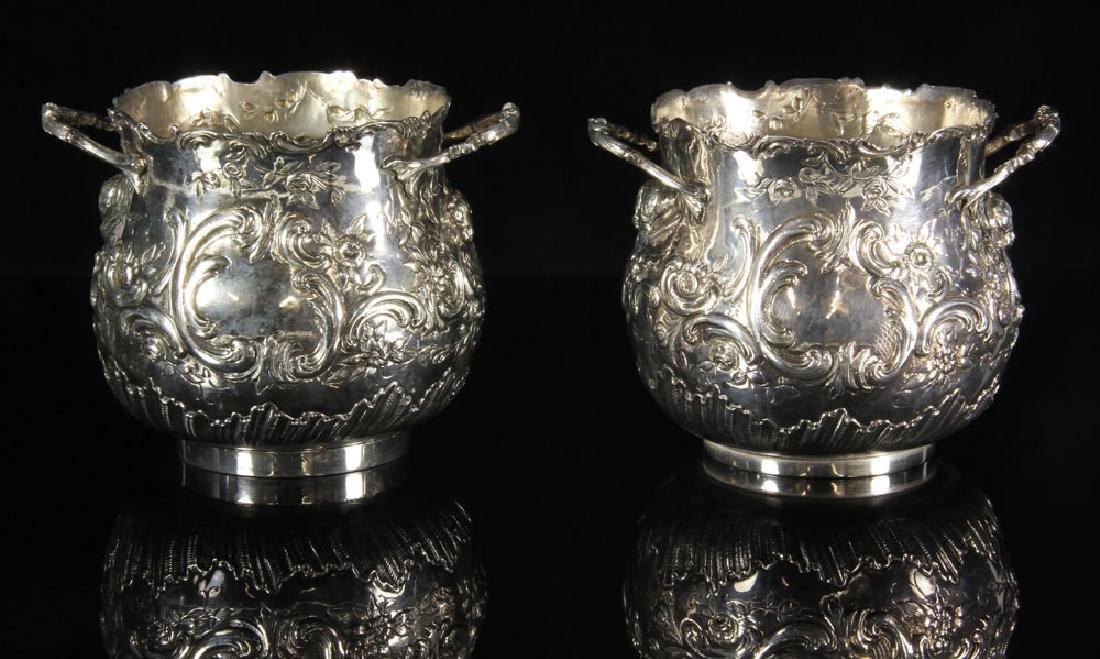 Pair of Repousse Silver Cashe Pots