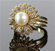14K Gold, Diamond and Pearl Ring