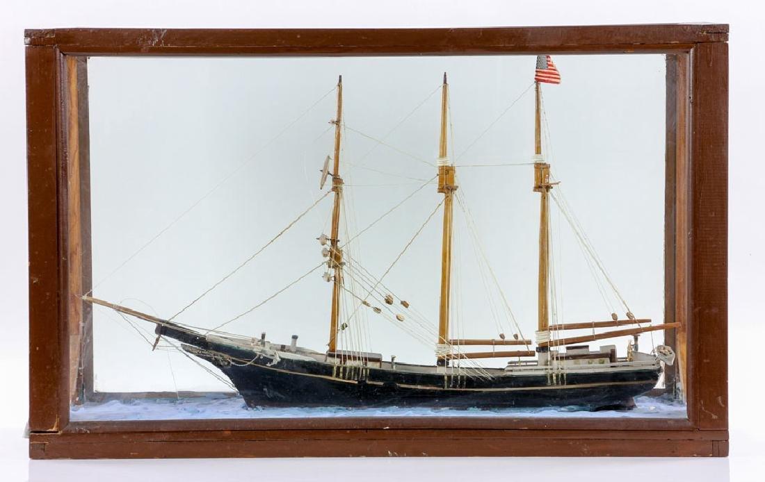 Model Sailing Ship in Case