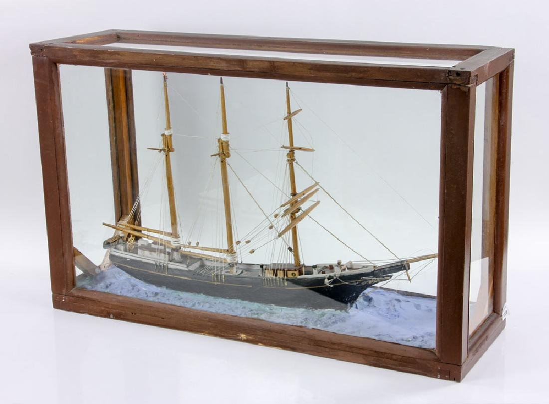 Model Sailing Ship in Case - 3