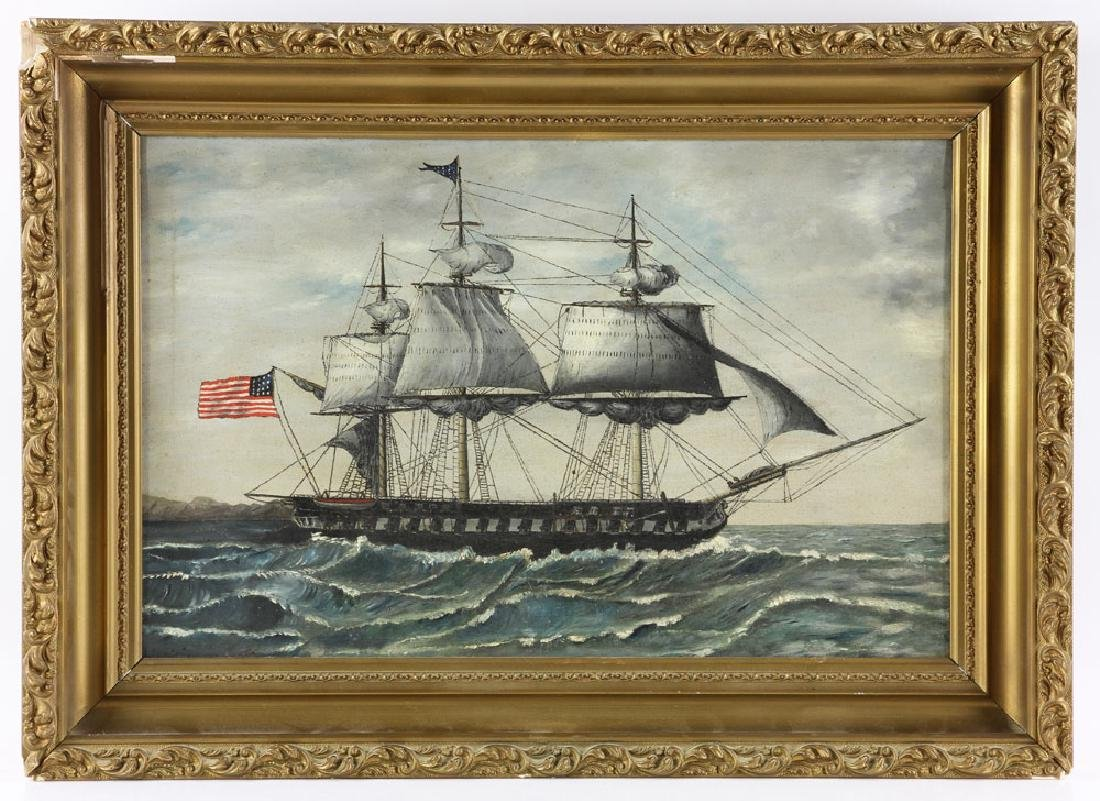 American School, USS Constitution, Oil on Canvas