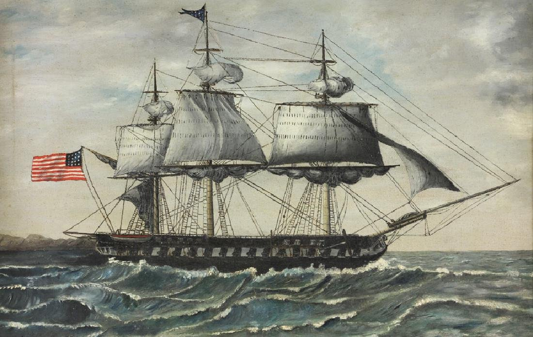 American School, USS Constitution, Oil on Canvas - 2
