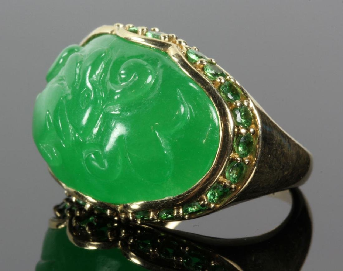 14K Gold and Jade Carved Ring