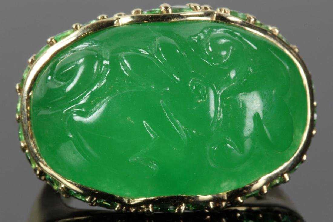 14K Gold and Jade Carved Ring - 2