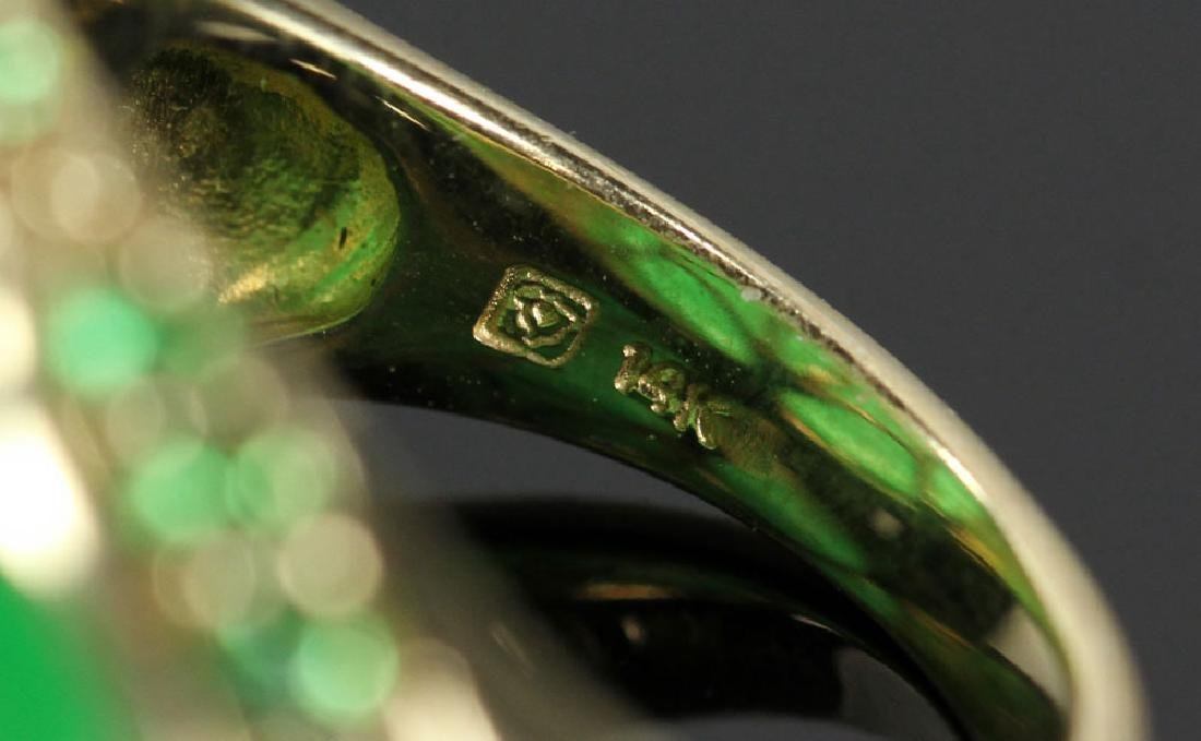 14K Gold and Jade Carved Ring - 4