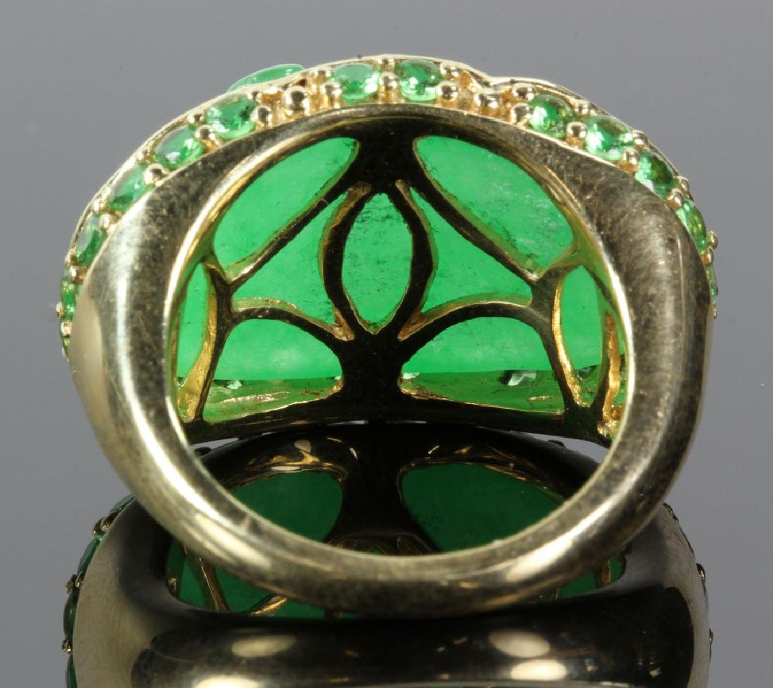 14K Gold and Jade Carved Ring - 5
