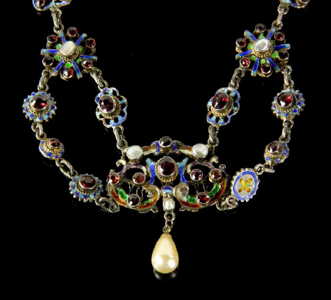 Austro-Hungarian Silver and Enamel Necklace - 2