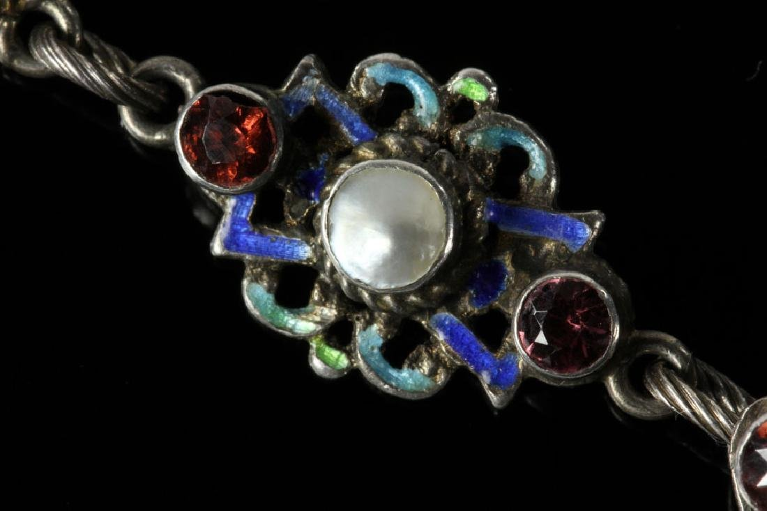 Austro-Hungarian Silver and Enamel Necklace - 3