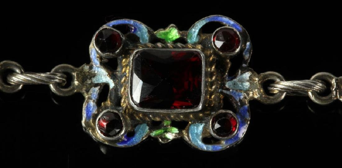 Austro-Hungarian Silver and Enamel Necklace - 5